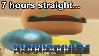 losing my mind playing wii sports bowling until i get a perfect game
