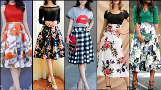 Fabulous Stunning And Elegant Stylish Floral Print Midi Skirts Dresses For Stylish Girls
