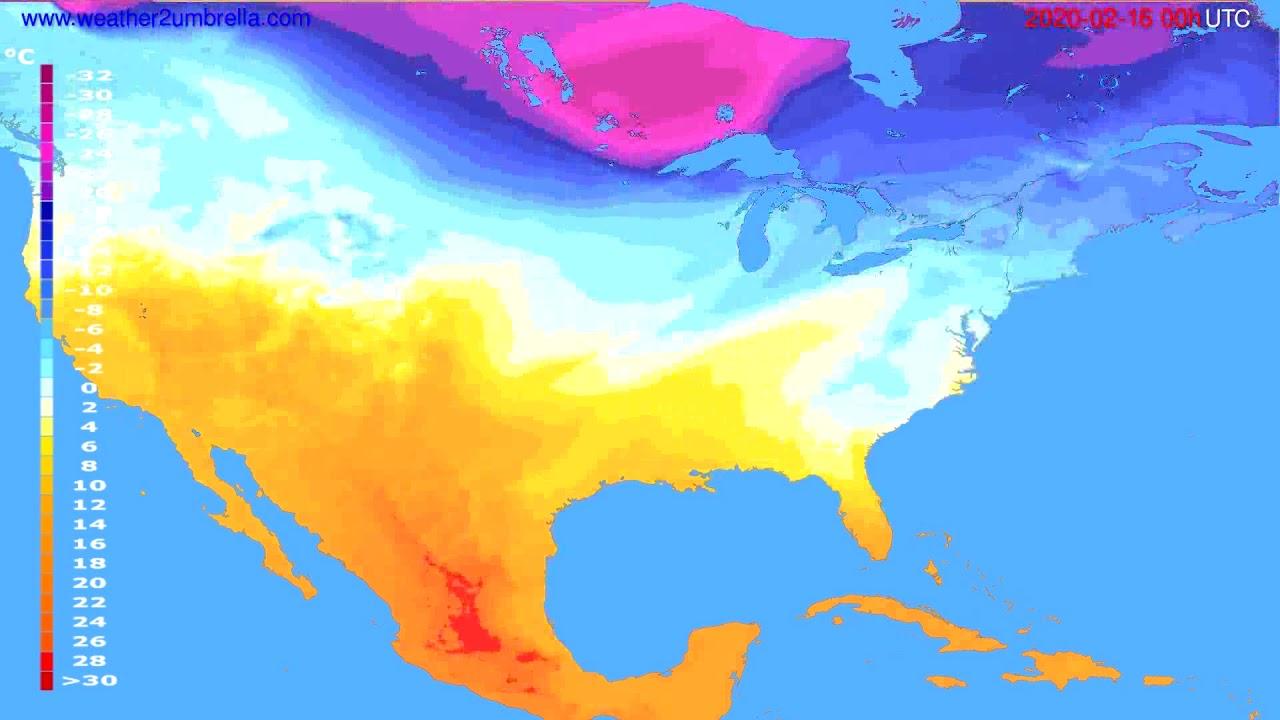 Temperature forecast USA & Canada // modelrun: 00h UTC 2020-02-15