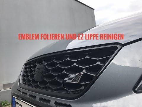 Seat Leon 5F Cupra 290 Emblem folieren mit Carbonfolie und EZ Lippe reinigen / Vinylex
