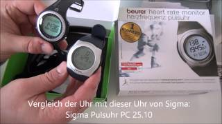 Beurer PM 25 Pulsuhr Uhr Watch Review Unboxing Vergleich mit Sigma Pulsuhr PC 25.10 bike run Check