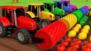Harvesting Fruits and Vegetables with Tractors Learn Colors for Kids Children   ZORIP