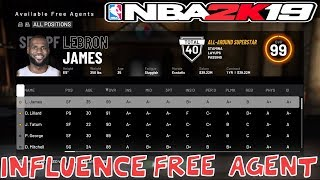 HOW TO INFLUENCE FREE AGENCY SIGNINGS IN NBA 2K19 | GET AVAILABLE FREE AGENTS SIGNED TO YOUR TEAM