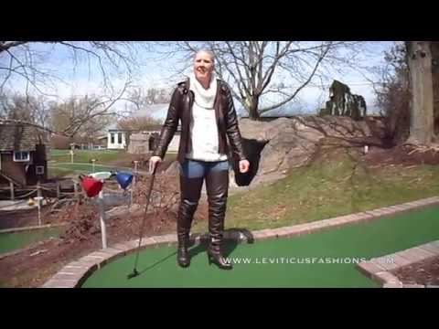 Miniature Golf & Brown Leather Thigh Boots