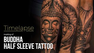 Tattoo Timelapse - Making Of Half Sleeve Buddha Tattoo