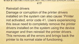 printer not activated error code 41