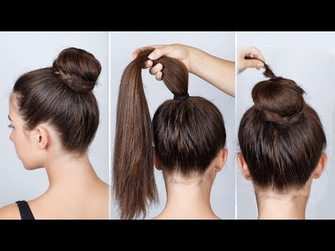 How To Hairstyles Donut Bun Easy Bun Hairstyle Tutorials