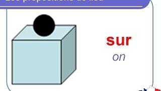 French Lesson 96 - Prepositions of place location ON UNDER IN BEHIND etc..Les prépositions de lieu