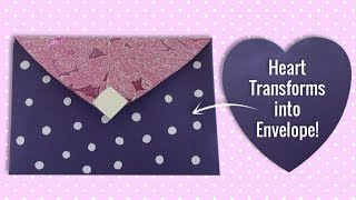 DIY Craft : Heart Shaped Paper Changed Into Beautiful Envelope | Valentines Day Card
