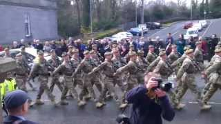 preview picture of video 'Hamilton Homecoming Parade, The Royal Scots Borderers (1 SCOTS) 15/04/2013'