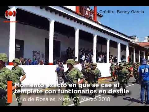 Momento exacto en que templete se cae en Ario de Rosales, Michoacán