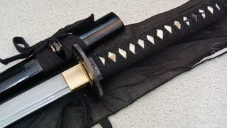 Thunder God Katana - Hand Forged Damascus Blade Review and Test Cutting