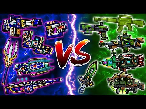 Mythical Clan Weapons VS Green Weapons - Pixel Gun 3D