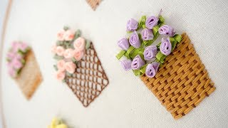 Hand Embroidery Stitches For Flower Basket By DIY Stitching
