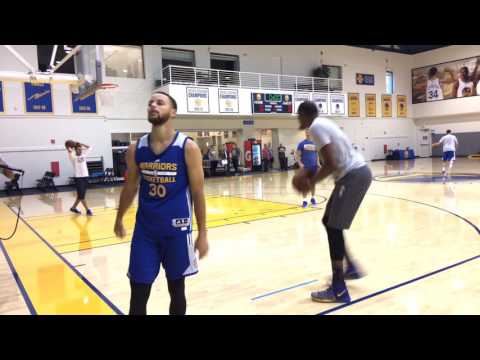Durant & Steph Curry shooting 3s together + KD9 Elite closeup after Warriors practice, day b4 G1 POR