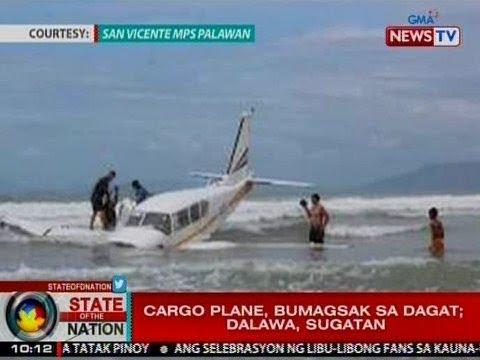 SONA: Cargo plane, bumagsak sa dagat sa Palawan; 2, sugatan
