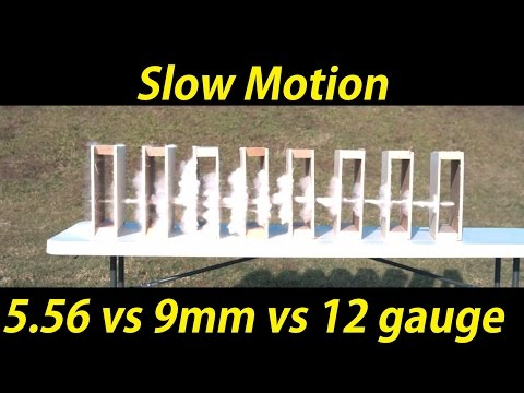 5.56, 12 gauge, and 9mm vs drywall in slow motion