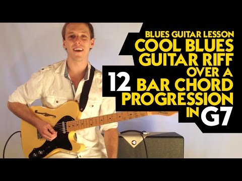 Blues Guitar Lesson - Cool Blues Guitar Riff Over a 12 Bar Chord Progression in G7