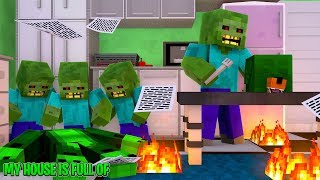 Minecraft My House Is Full Of Man Eating ZOMBIES!!
