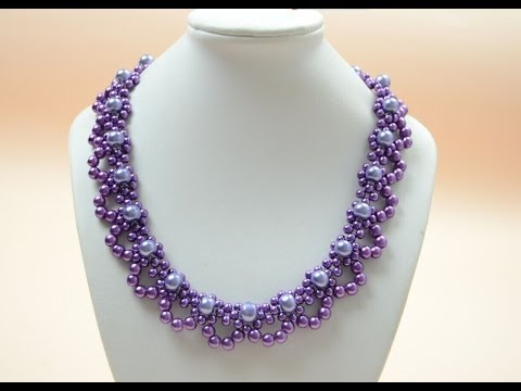 Download PandaHall Jewelry Making Tutorial Video--How To Bead A Purple Pearl Lace Necklace For Brides HD Mp4 3GP Video and MP3