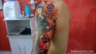 Bebeto Tattoo Studio - Tatuagem De Gueixa - Geisha Tattoo, Oriental, Arm , Finalized , Color.