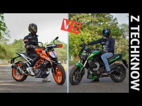 KTM Duke 390 2019 vs Bajaj Dominar 400 UG 2019 Comparison   Hindi Price   Mileage   Z Techknow