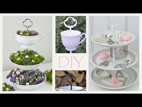 DIY - Etagere aus altem Geschirr selbermachen /romantische Deko, Vintage, Shabby Chic / How to