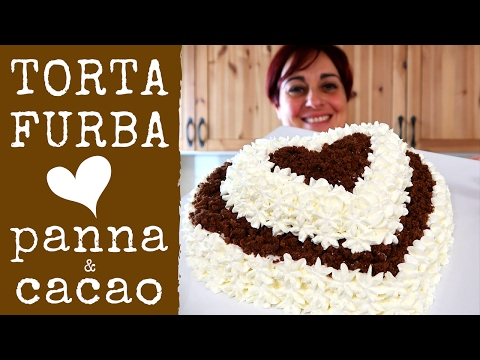 TORTA FURBA PANNA E CIOCCOLATO Ricetta facile - Chocolate Heart Cake Easy Recipe