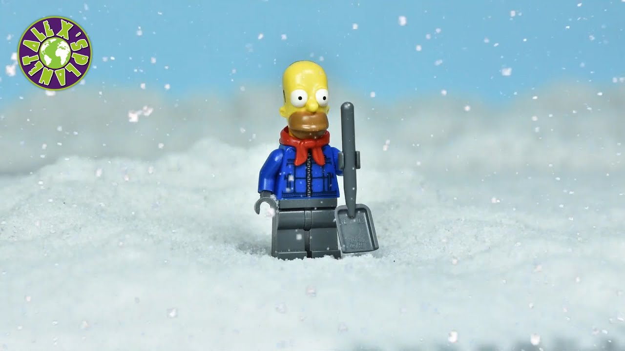 Lego Simpsons on Bulldozer in Snow Disaster.