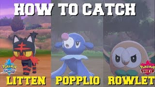 Rowlet  - (Pokémon) - HOW TO CATCH/FIND LITTEN,ROWLET AND POPPLIO IN POKEMON SWORD AND SHIELD! (ALOLA STARTERS)