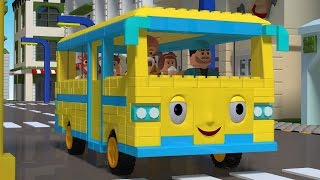 Wheels on the bus go round and round |  LEGO City | (Toy Bricks) Part 4 | Nursery rhymes | Kiddiestv