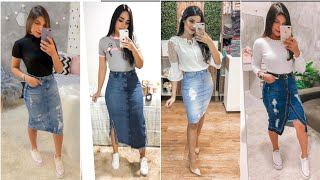 Denim Skirt Outfits Ideas 2020 /Hottest Summer Look