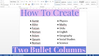 How To Create Two Bullets Columns In Microsoft Word | Making Two Bullet Columns In MS Word
