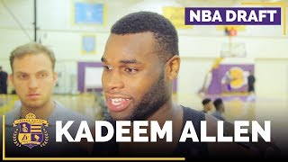 Kadeem Allen speaks with the media after his Lakers workout this morning