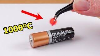 EXPERIMENT: Glowing 1000 Degree mini METAL BALL vs BATTERY