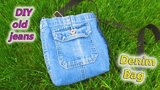 DIY Small Sling Bag From Denim - How To Make Shoulder Purse Out Of Old Jeans - Recycle Old Denims