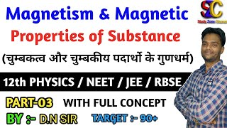 Magnetism And Properties of Magnetic Substances class 12 Part-3 II Physics for NEET,JEE Mains