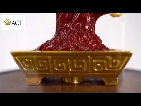 Chậu Mai Ngũ Phúc dát vàng size S 11x11x15cm