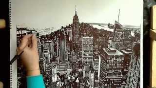 Realistic Drawing: Manhattan, New York