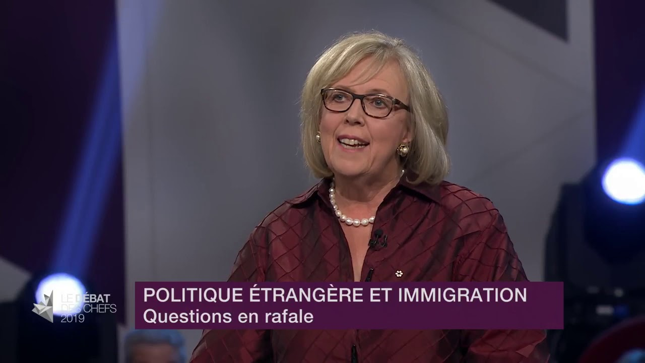 Elizabeth May answers a question about staying competitive while fighting climate change