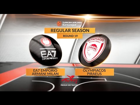 EuroLeague Highlights RS Round 19: EA7 Emporio Armani Milan 99-83 Olympiacos Piraeus