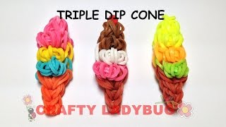 preview picture of video 'Rainbow Loom TRIPLE DIP ICE CREAM CONE EASY CHARM Tutorial by Crafty Ladybug. Wonder Loom, DIY LOOM'