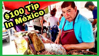 WARNING⚠ - You Will Cheat On Your DIET If You Watch This - $100 Tip WELL DESERVED To Taco Master!!👍