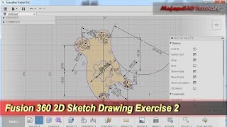 Fusion 360 2D Sketch Drawing | Practice Tutorial | Exercise 2