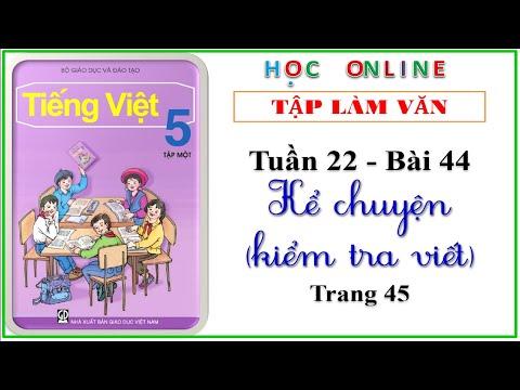 Tập làm văn lớp 5 - Bài 44 Kể chuyện kiểm tra viết - trang 45