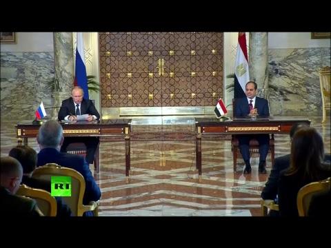 Conférence de presse commune du président russe Vladimir Poutine et de son homologue égyptien