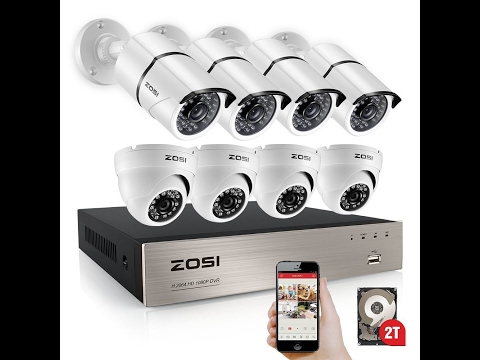 ZOSI 8-Channel FULL 1080p HD Video Security System DVR with 8pcs...