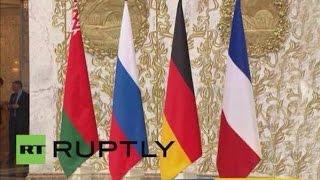 Флаг Украины упал во время переговоов в Минске   Переговоры в Минске 12 февраля