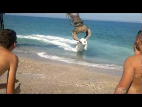 Divertirsi in spiaggia con una ruspa