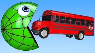 Learn Colors with PACMAN SchoolBus VS Street Vehicle Surprise Toy for Kid Children